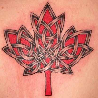 Latest Red Candian Celtic Flag Tattoo Design By Ink 22