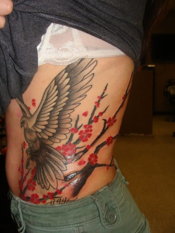 Latest Rib Side Cherry Blossom With Lovely Big Flying Bird Tattoo For Women 27