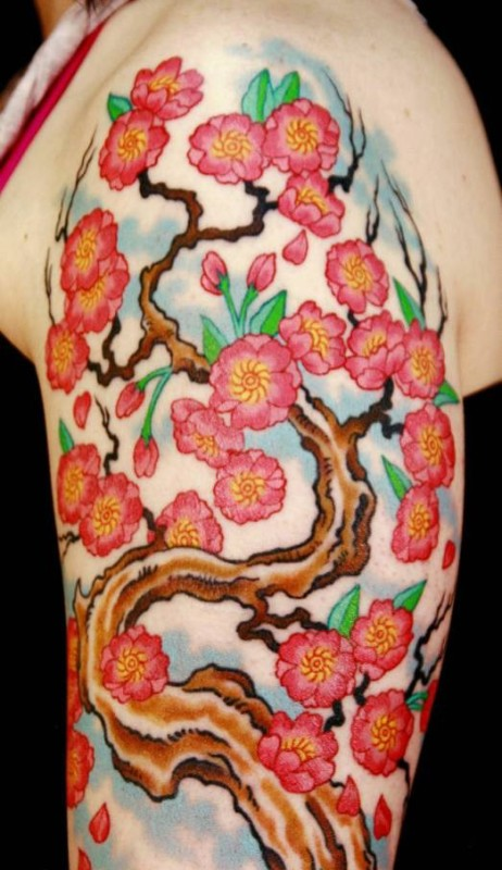 Latest Upper Sleeve Cherry Blossom Tattoo Design Made By Ink 1