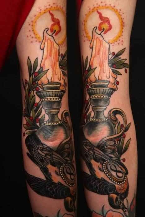 fabulous melting candle tattoo design by ink. Black Bedroom Furniture Sets. Home Design Ideas
