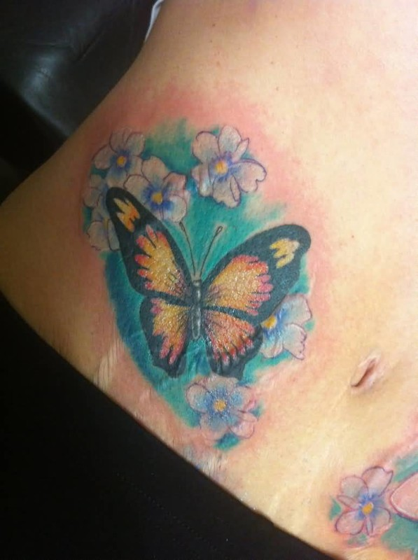 Lovely Butterfly AndWhite Flowers Tattoo for Hot LAdy 6
