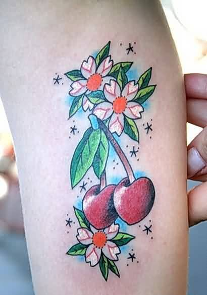 Lovely Colorful Flowers And Red Cherry Tattoo With Lovely Red Stars 23