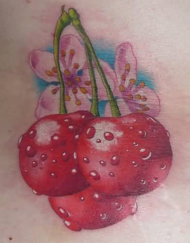Lovely Flowers And Delicious Tasty Cherry Tattoo 1