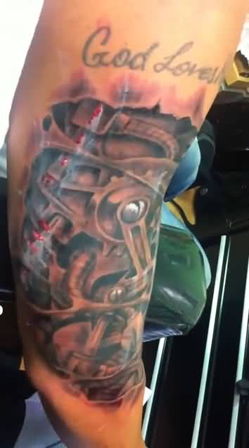 Lovely God Loves Text and Latest Biomechanical Tattoo3