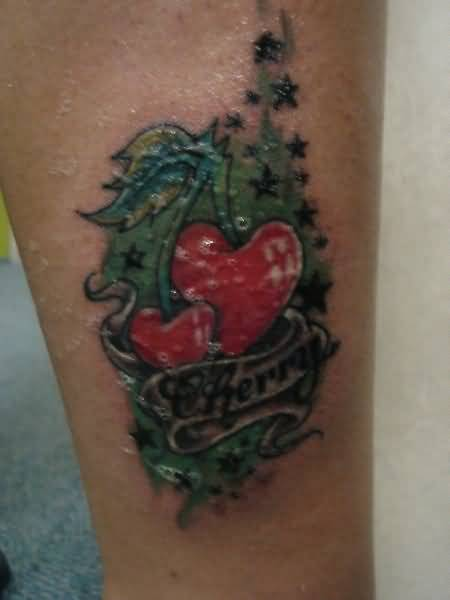 Lovely Heart Shaped Cherry And Banner Tattoo Design 1