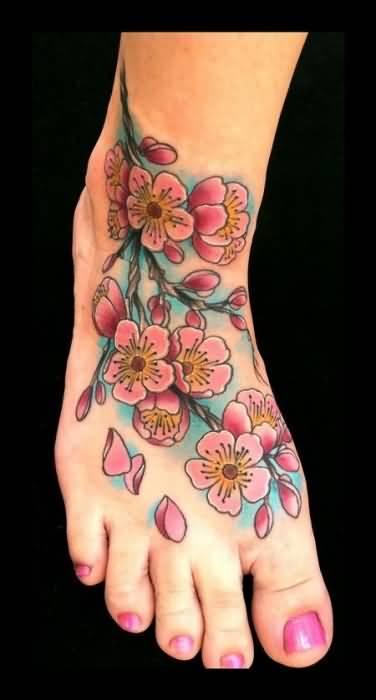 Lovely Pink Cherry Blossom Flowers Tattoo Design For Women's Foot 18