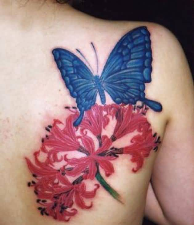Lovely Red Flowers And Wonderful Blue Butterfly Tattoo On Back Shoulder 3