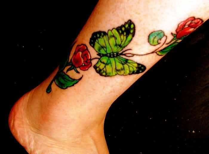 Lovely Red Rose Flower With Beautiful Green Butterfly Tattoo Make On Leg 2