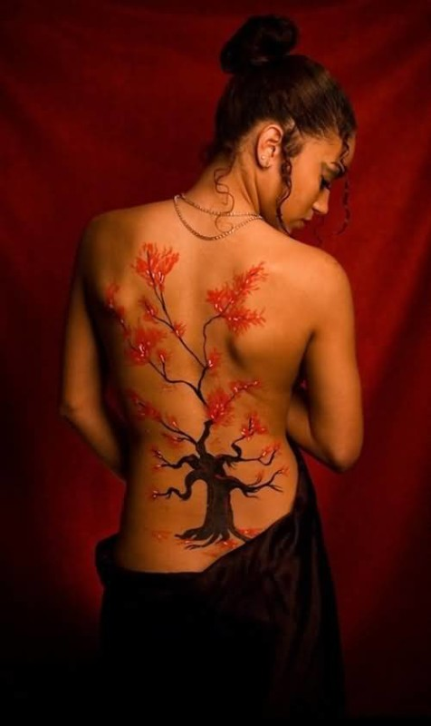 Marvelous Full Back Cherry Blossom Tattoo For Passionate Men 2