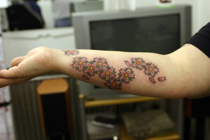 Men Back Sleeve Cover Up With Outstanding Cherry Blossom Tattoo 3