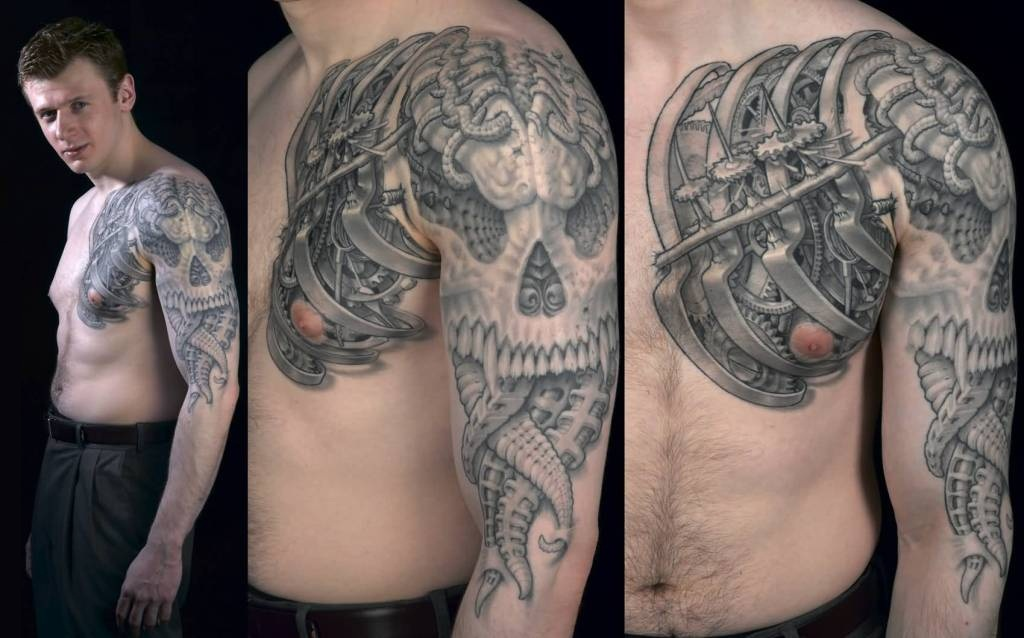 Men chest and sleeve cover up with scary biomechanical for Chest cover up tattoos