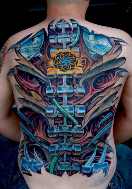 Men Full Back Cover Up With Latest Biomechanical Tattoo6