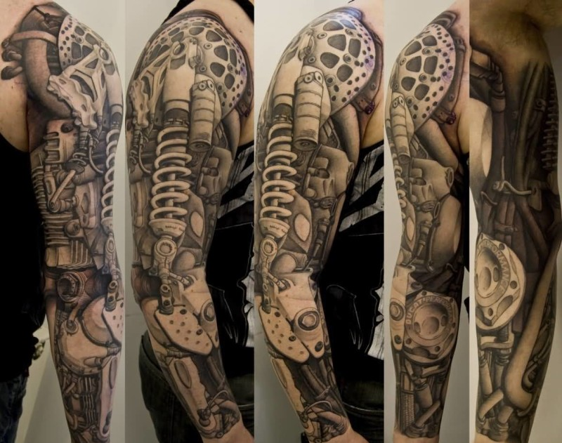 Men Full Sleeve Cover Up With Awesome Biomechanical Tattoo7