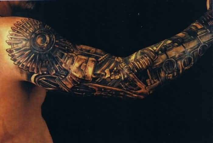 Men Full Sleeve Cover Up With Latest Biomechanical Tattoo1