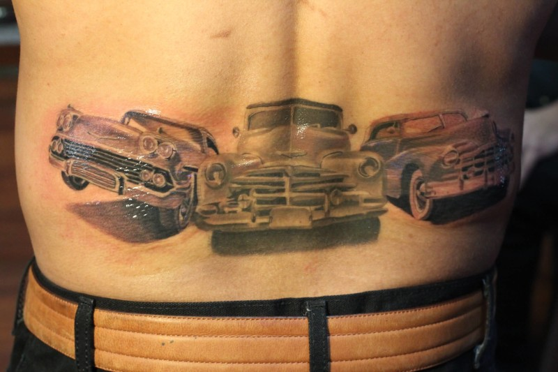 Men Lower Back DEcorated With Famous 3 Cars Tattoo Design 7