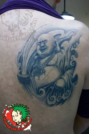 Men show happy laughing buddha tattoo design on back for Happy buddha tattoo