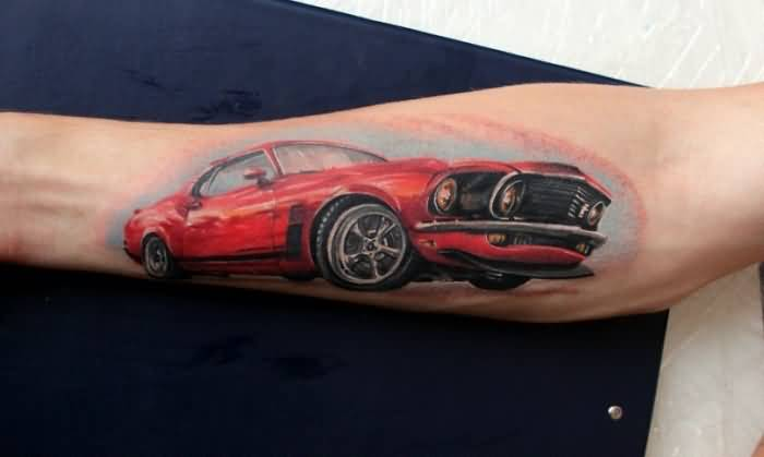 Men Sleeve Decorated With Great Looking Red Car Tattoo 1