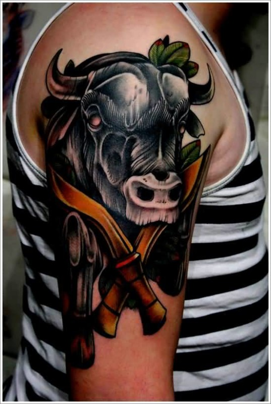 Men Upper Sleeve Cover Up With Dangerous Daggers And Scary Bull Tattoo 7