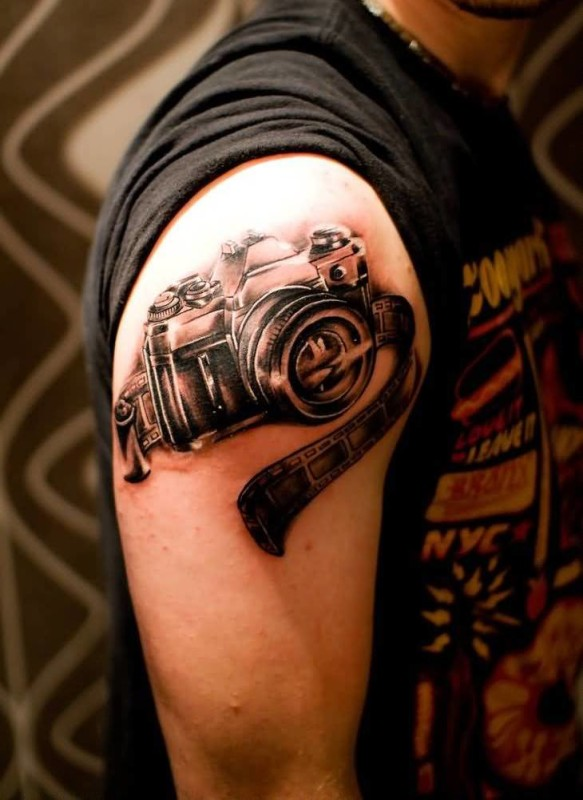 Men Upper Sleeve Cover Up With Film Camera Tattoo Design 3