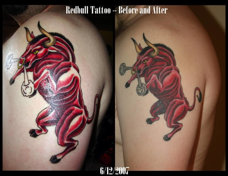 Men Upper Sleeve Decorated With Angry Bull Tattoo Design