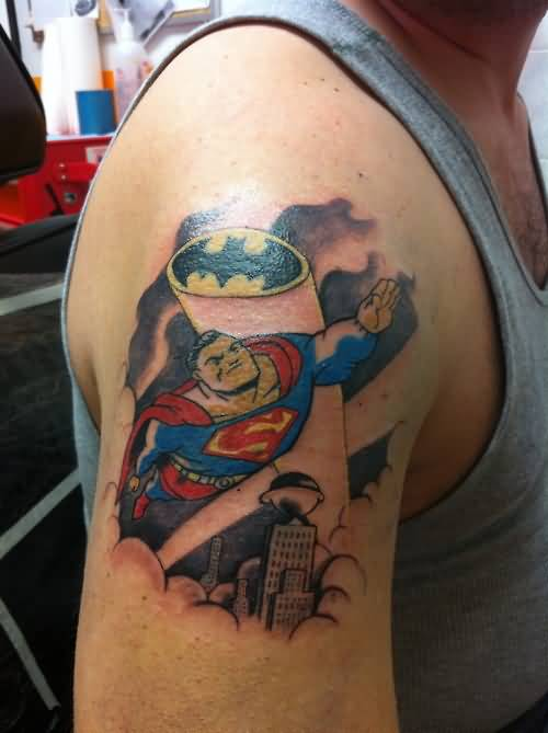 Men Upper Sleeve Decorated With Flying Superman Cartoon Tattoo 3