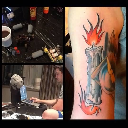 Men chest decorated with skull with burning candle tattoo men upper sleeve decorated with melting dual burning candle tattoo sciox Images