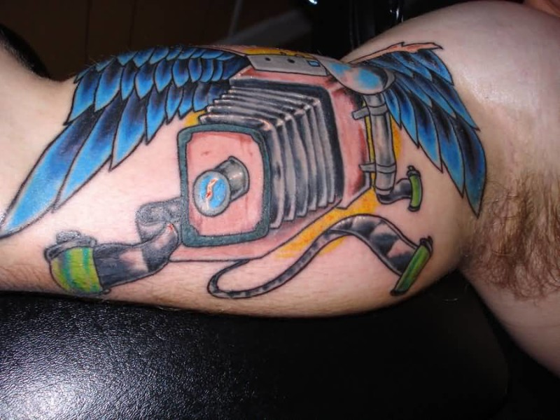 Men Upper Sleeve  Decorated With Winged Camera Tattoo Made By Ink 6