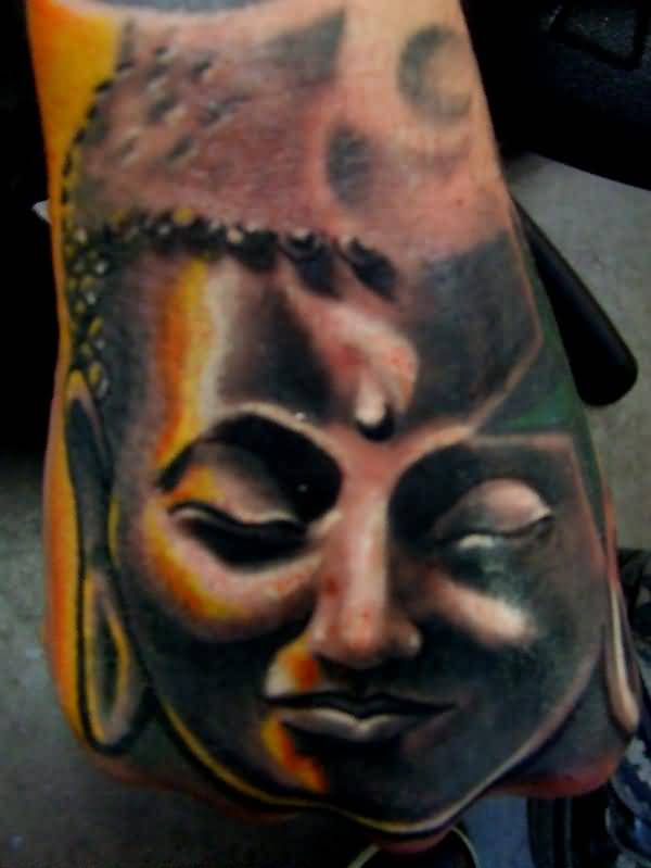 Mind Blowing Buddha Head Tattoo On Hand    2