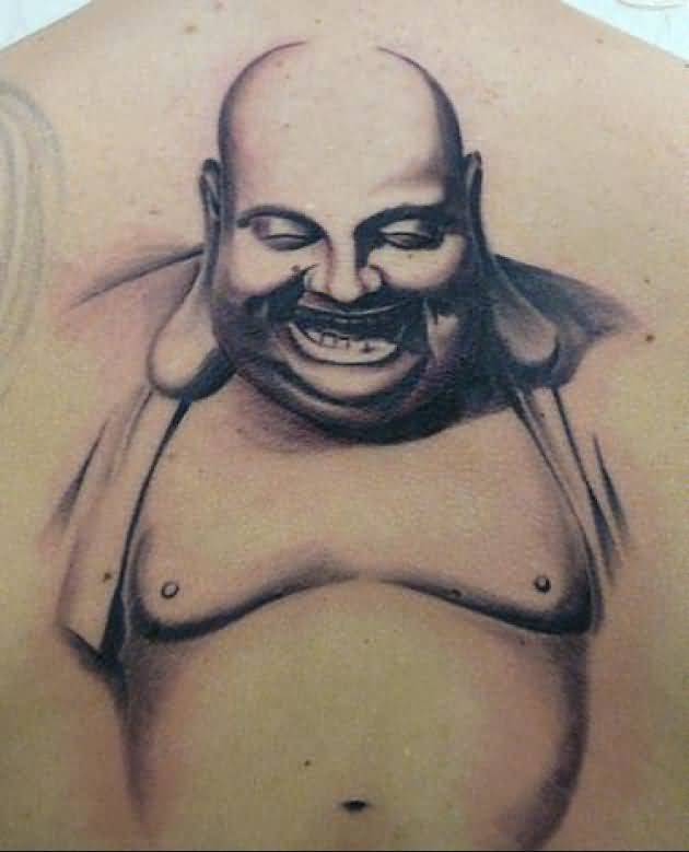 Mind Boggling Laughing Buddha Tattoo On Men's Upper Back     5
