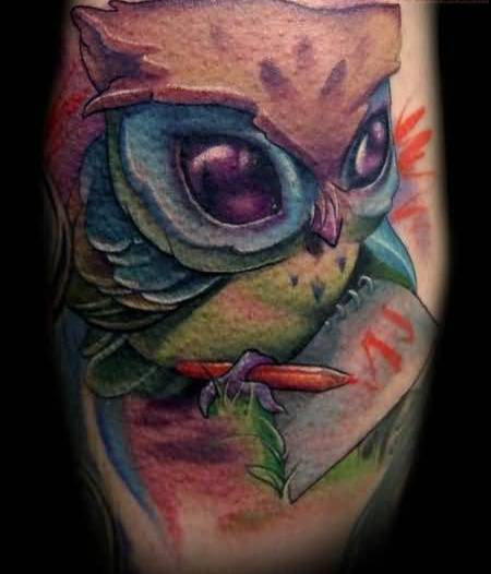Nice Looking Baby Owl Cartoon  Hold Orange Pen And Paper Tattoo 5