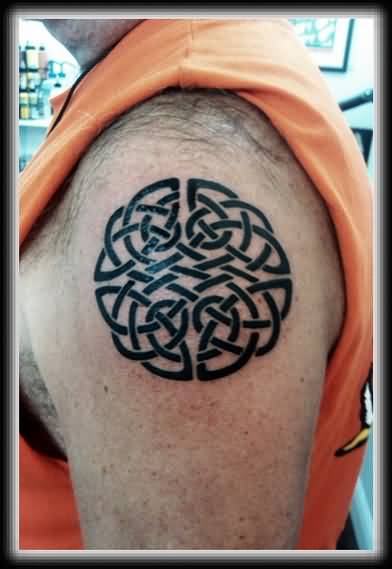 Nice Looking Black Celtic Tattoo Make On Men's Upper Sleeve 3