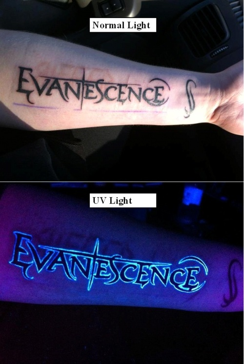 Nice Looking Blacklight Evanescence Text Tattoo Design For Sleeve6