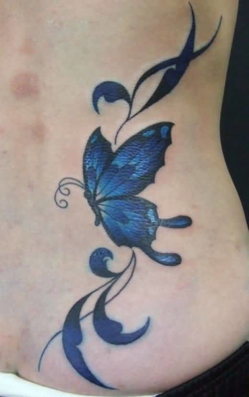 Nice Looking Blue Morpho Butterfly Tattoo DEsign On Lower Back 2