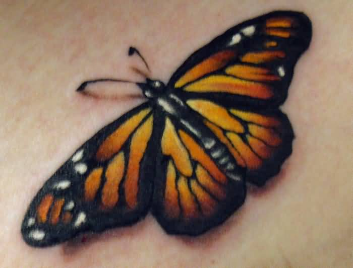 Nice Looking Butterfly Tattoo Made BY Yellow Ink 3