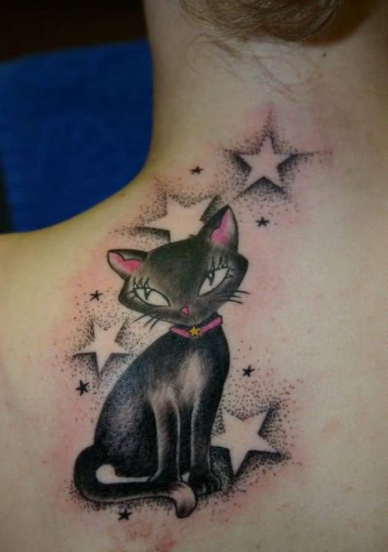 Nice Looking Cat And Amazing Stars Tattoo Design On Upper Back 6
