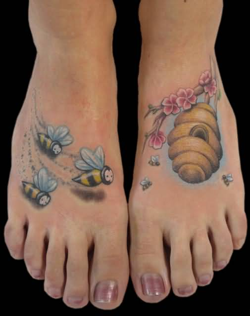 Nice Looking Flying Bumblebee And Hive With Beautiful Flowers Tattoo On Foot 4