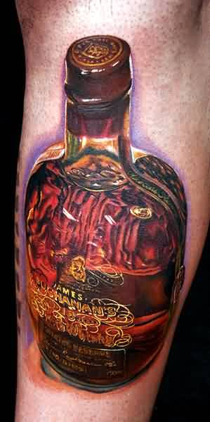 Nice Looking Full Whiskey Bottle Tattoo Made By Cool Artist3