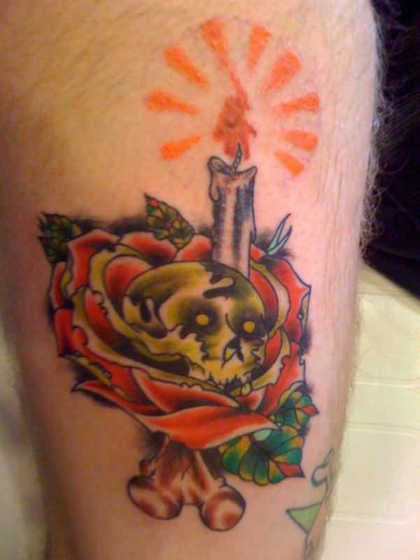 Nice Looking Glowing Yellow Candle And Skull With Lovely Red Rose