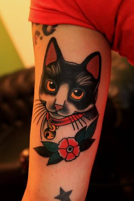 Nice Looking Kitty Cat With Lovely Flower Tattoo With Lovely Black Stars 1