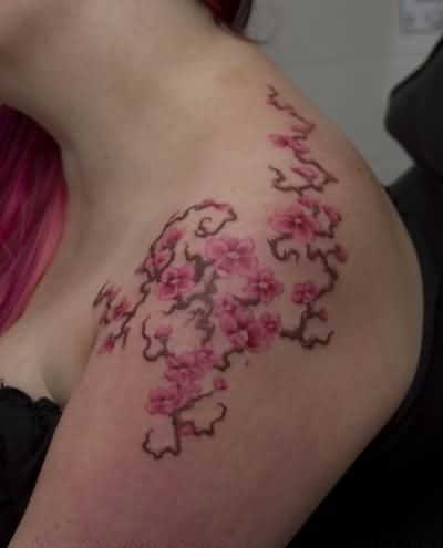 Nice Looking Upper Sleeve Cherry Blossom Tattoo For Women 1