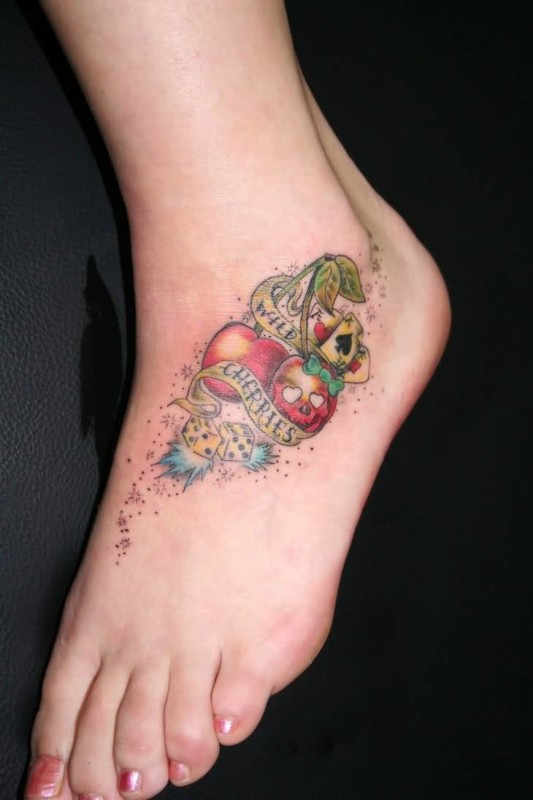 Nice Looking White Dice And Wild Banner With Cheeies Tattoo Make On Foot 2