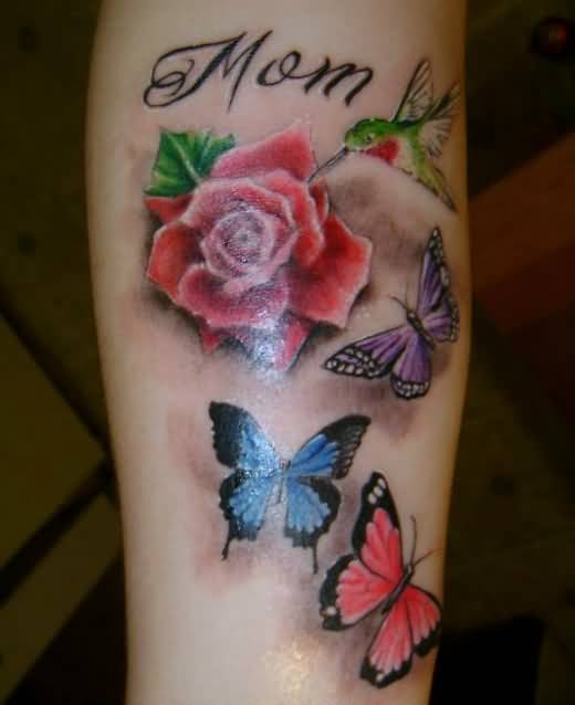Old Butterfly And Mom Text With Beautiful Red Rose Tattoo Design 1