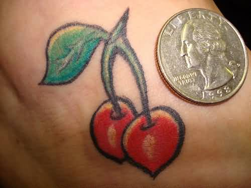 Old Coin And Simple Cherry Tattoo 4