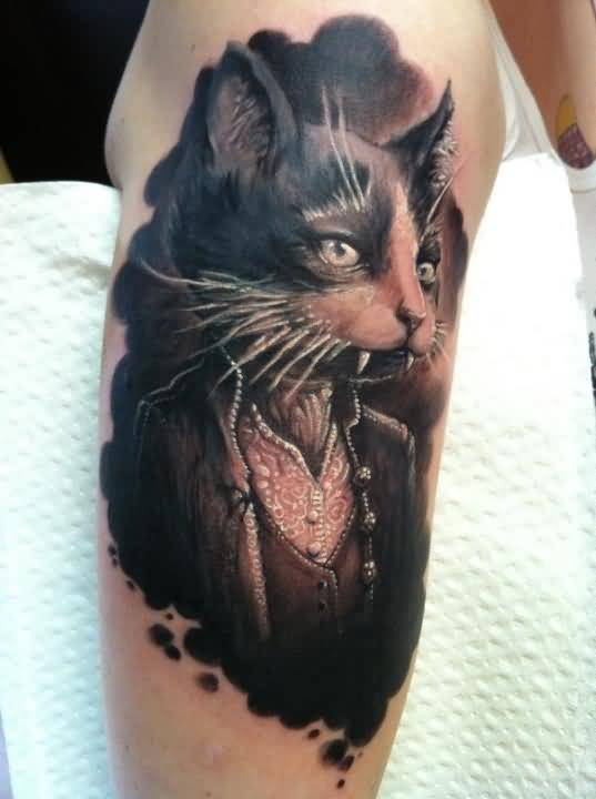 Outstanding Angry Open Mouth Cat Tattoo On Men's Sleeve 5