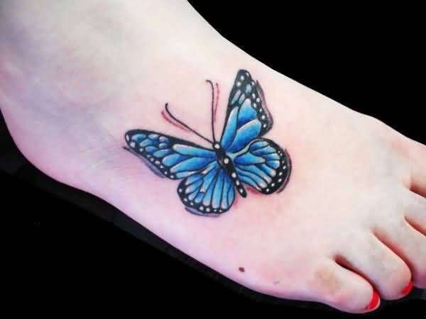outstanding flying butterfly tattoo design for foot. Black Bedroom Furniture Sets. Home Design Ideas