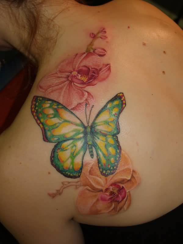 Outstanding Butterfly And Beautiful Flowers Tattoo Design On Back Shoulder 4