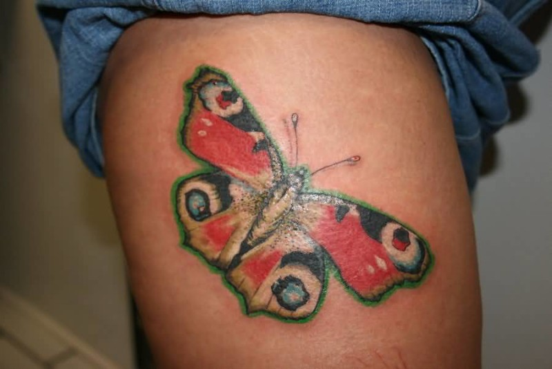 Outstanding Butterfly Tattoo Design On Thigh 6