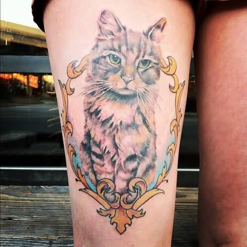 Outstanding Cat Tattoo Design Make On Upper Leg 4
