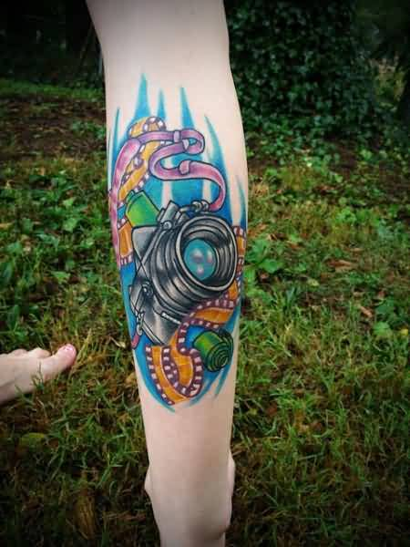 Outstanding Film Camera Tattoo DEsign On Back Leg 5