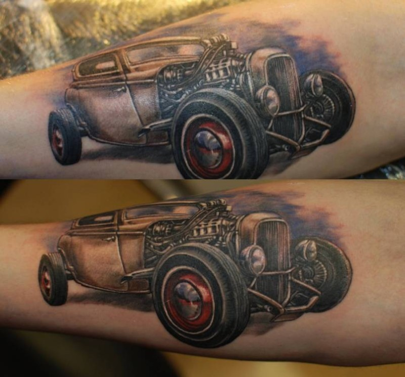Outstanding Old Car Tattoo Design Make On Sleeve 6